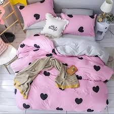 bedding set of 4 pieces single size black heart design
