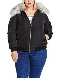new look curves women s faux fur trim er coat b01ivnifww