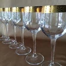gold rimmed wine glasses gold rim wine glass optic panel glass long elegant stems ital gold