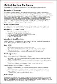 Cv Writing Online Optical Assistant Cv Sample Myperfectcv