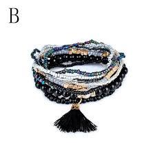 beaded bracelet bohemian multi layer bracelet fashion 1 set stretch acrylic beaded bohemian lady bracelet
