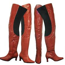 arge lb7060 las thigh high boots red leather