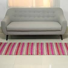 hand woven striped recycled cotton runner rug 2 5x6 5 bright spring
