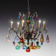 murano chandelier in gold patina