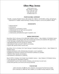 Resume Pediatric Nurse 1 Pediatric Nurse Resume Templates Try Them Now