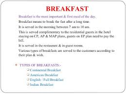 Types Of Meals Types Of Meals Breakfast