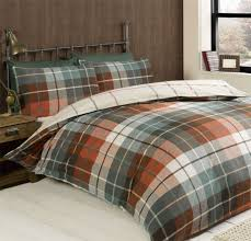 tartan check terracotta teal brushed cotton double duvet cover