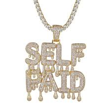 details about men s self paid dripping letters iced out custom rapper pendant necklace