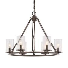 quoizel buchanan 25 in 6 light western bronze rustic seeded glass candle chandelier