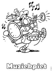 Kleurplaat Muziekpiet Zwarte Piet Kleurplatennl