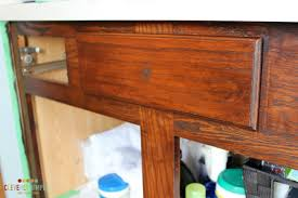 after first coat of gel stain on bathroom vanity cabinet