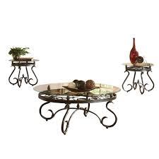 steve silver company lola 3 piece coffee table set in dark brown