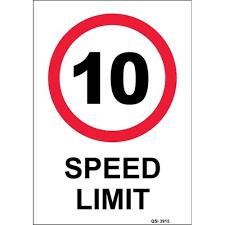 10km Speed Limit Safety Sign 340x240mm Officemax Nz