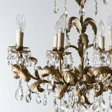 italian eight light chandelier with gold leaf design 2