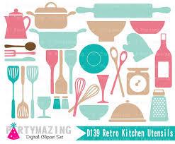 kitchen utensils art. Kitchen Clipart Set, Retro Utensils D140 Art