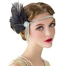 amazon sweetv flapper headbands womens 1920s headpiece great gatsby inspired feather headband l party rhinestone hair accessories for women