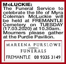 MCLUCKIE Myra   Funeral Notices   The West Announcements