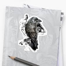 Crow Gothic Bird Raven Realism Drawing Sketch Tattoo Sticker By