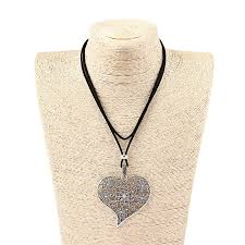 details about 1x large open filigree flower heart pendants necklace with korea faux suede cord