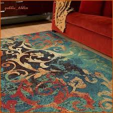 unique watercolor scroll area rug teal and red area rug on accent rugs