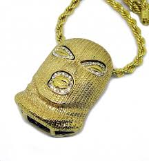bling bling iced out goon mask head pendant with hiphop chain