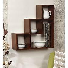 ss collection dark brown l shape wooden wall shelf