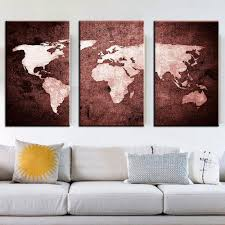 office canvas art. Hand Painted Wall Office Painting Vintage Canvas World Map 3 Piece Art Decoration Oil Pictures For Living Room-in \u0026 Calligraphy