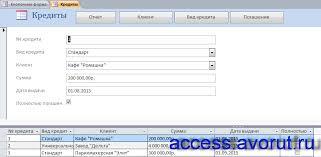 Скачать базу данных access Выдача банком кредитов Базы данных  Готовая курсовая база данных Выдача банком кредитов Форма Кредиты