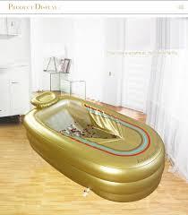 in his large inflatable bathtub thickening warm tub folding steam bath box