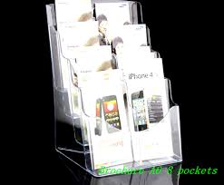 Acrylic Flyer Display Stand Clear Eight Pockets Plastic Acrylic Brochure Literature Pamphlet 70