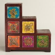 moroccan inspired furniture. Moroccan Style Multicolor Painted Stepped Chest World Market I Need Inspired Furniture