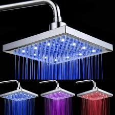 8 inch square led 7 colors changing bathroom rainfall shower head cod