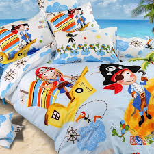 light blue yellow red white and orange nautical theme pirate and parrot print kids boys girls twin full queen size cotton bedding sets