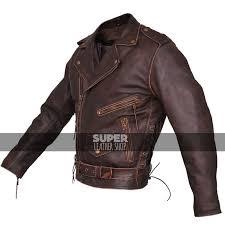 mens brown distressed leather marlon brando biker motorcycle