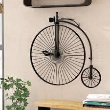 industrial metal bicycle wall d cor on iron bike wall decor with basket with metal bicycle decor wayfair