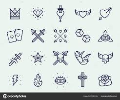 Retro Staré školy Tetování Minimální Rovná čára Tahu Ikonu Piktogram