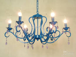 luxury 31 crystal chandeliers painted blue iron 6 lights modern romantic living dining room chandeliers bedroom chandeliers cage chandelier raindrop