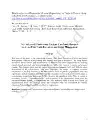 pdf internal audit effectiveness multiple case study research involving chief audit executives and senior management