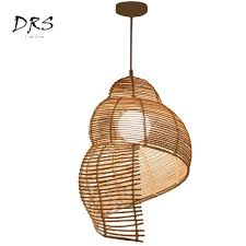 Asian Ceiling Lights Us 68 2 35 Off Southeast Asian Rattan Art Droplight Handmade Knitted Conch Snail Pendant Lights Restaurant Hotel Coffee Hanging Lamp Fixture In