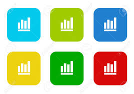 Set Of Rounded Square Colorful Flat Icons With Bar Chart Symbol