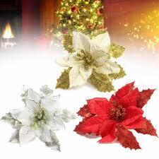 Großhandel Christbaumschmuck Künstliche Blumen Weihnachten 15 Cm Weihnachtsstern Glitter Blume Hochzeit Ornament Dekor 15 Cm C18112601 Von Mingjing02