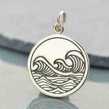 sterling silver ocean waves pendant