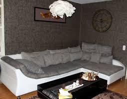 Wohnlandschaft Sofa Weiß Leder Grau Webstoff In 41460 Neuss