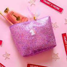 s unicorn tree embroidery make up pouch shining cosmetic case soft light convenient travel wash bags for s korea style makeup s professional