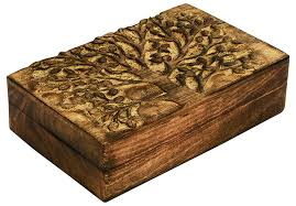 beautiful carved tree wooden trinket box