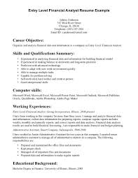 Sample Resume Financial Analyst Entry Level Examples Example For
