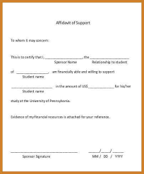 sample affidavit of support affidavit of financial support letter pdf