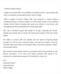Graduate School Coworker Recommendation Letter Teacher Of From