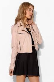 pink leather jackets silence noise silence noise pinky cropped leather moto jacket