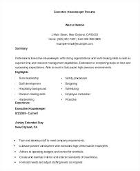 Sample Resume For Housekeeper